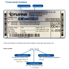 Truma data plate section